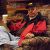 Bud Blake relaxing in one of the easy chairs at Cabela's.